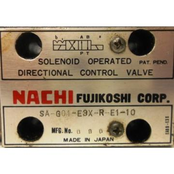 NACHI FUJIKOSHI SOLENOID OPERATED CONTROL HYDRAULIC VALVE SA-G01-E3X-R-E1-10