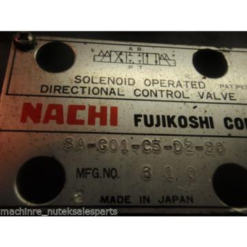 NACHI FUJIKOSHI SOLENOID OPERATED CONTROL HYDRAULIC VALVE SA-G01-C5-D2-20