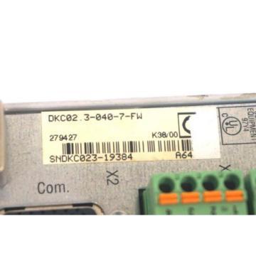 REXROTH India USA INDRAMAT DKC02.3-040-7-FW SERVO DRIVE DKC0230407FW