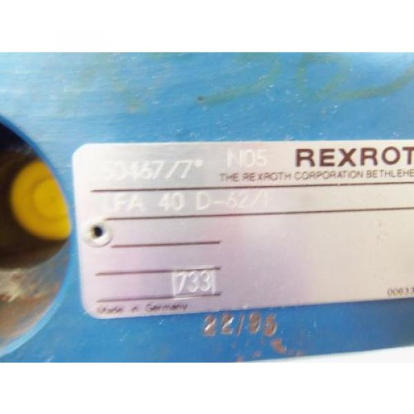 REXROTH HYDRAULIC VALVE LFA 40D-62/F AS PICTURED  USED #2 image