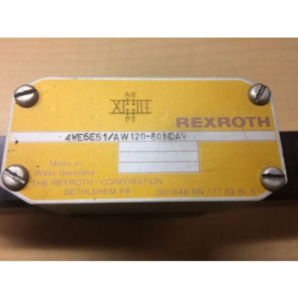 Rexroth Hydraulic Valve 4we6e51/aw120-60ndav WU35-0-A 296 120/60 46VA #2 image