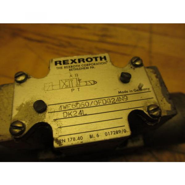 Rexroth 4WE6D60/0FDG24N9DK24L Hydraulic Directional Valve 24VDC Missing Coil Cap #2 image