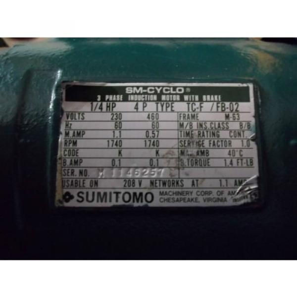 SUMITOMO SM-CYCLO 3 PHASE AC INDUCTION GEAR MOTOR with BRAKE WVM93100   RPM = 30 #2 image