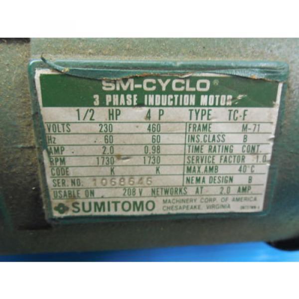 SM CYCLO SUMITOMO TC F 3 PHASE INDUCTION MOTOR 3 HP CNHM3 4105YA 8 GEAR REDUCER #4 image