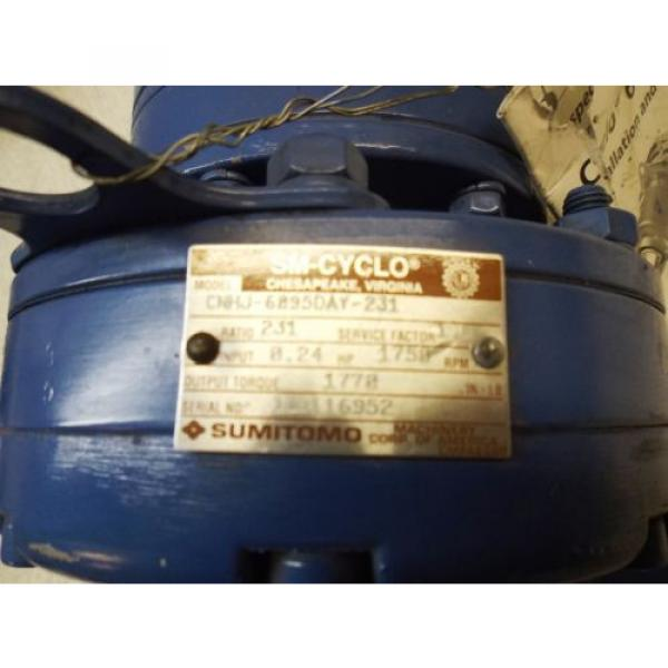 SUMITOMO SM-CYCLO CNHJ-6095DAY-231 GEAR BOX, RATIO 231, 1750 RPM, INPUT HP 024 #2 image