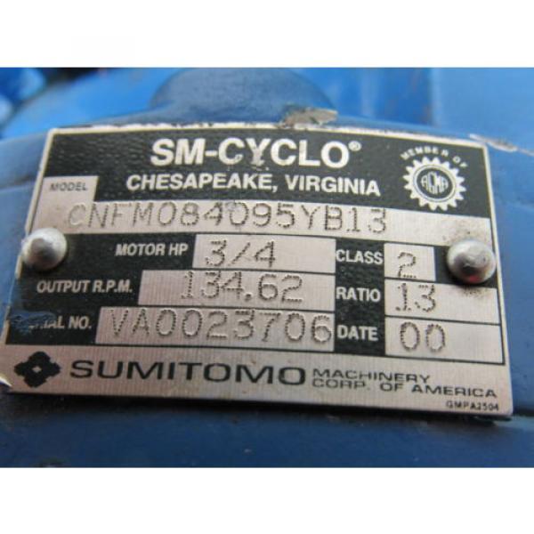Sumitomo SM-Cyclo CNFM084095YB13 3/4HP Gear Motor 13:1 Ratio 208-230/460V 3Ph #8 image