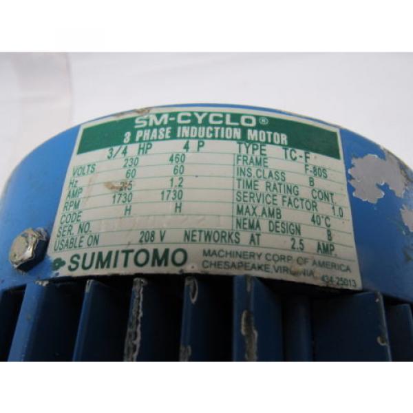 Sumitomo SM-Cyclo CNFM084095YB13 3/4HP Gear Motor 13:1 Ratio 208-230/460V 3Ph #9 image