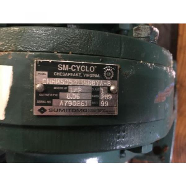 SUMITOMO SM CYCLO GEAR MOTOR, RATIO 289, WITH MOTOR, 1/2 HP, 1740 RPM , USED #6 image