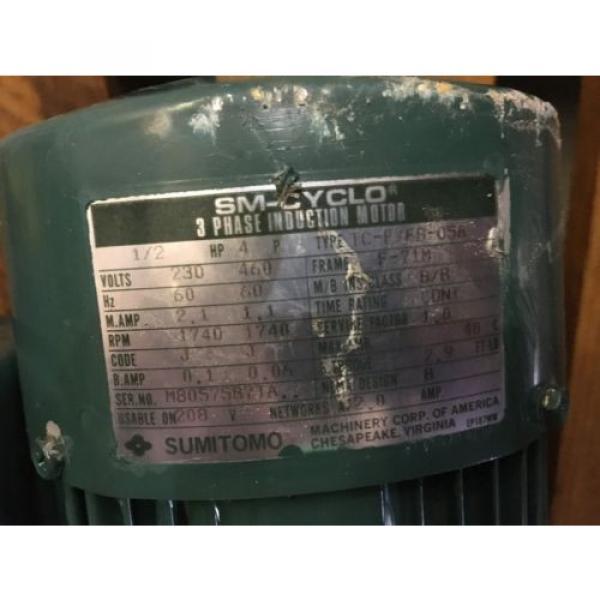 SUMITOMO SM CYCLO GEAR MOTOR, RATIO 289, WITH MOTOR, 1/2 HP, 1740 RPM , USED #7 image