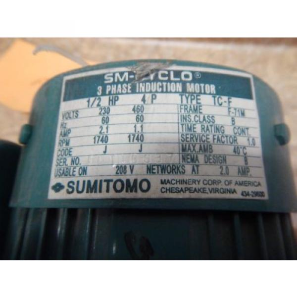 Origin Sumitomo CNHM-05-4090-YB Gear Reducer amp; Motor 1/2 HP 15:1 Ratio 230/460 Volt #2 image