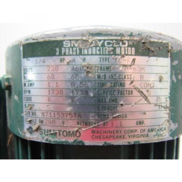 Sumitomo SM-Cyclo CNHM024075YA21 1/4HP Gear Motor 21:1 Ratio 208-230/460V 3Ph #9 image