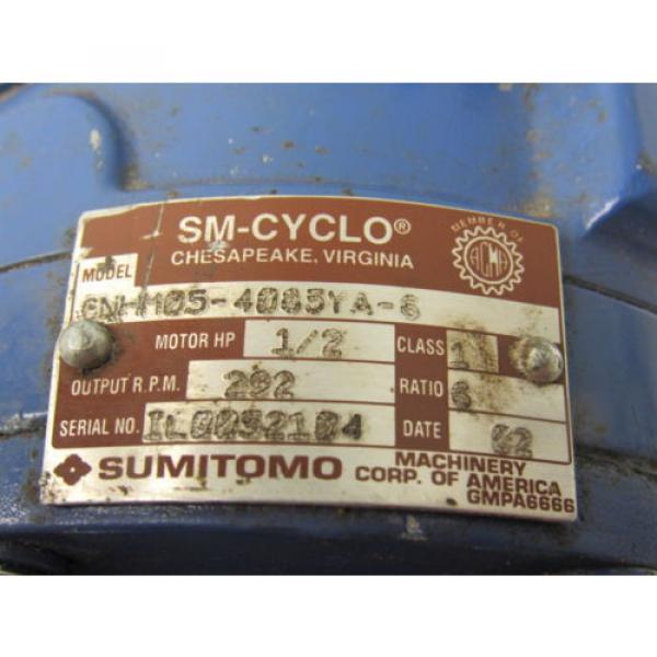 Sumitomo SM-Cyclo CNHM05-4085YA-6 1/2HP Gear Motor 6:1 Ratio 208-230/460V 3Ph #9 image