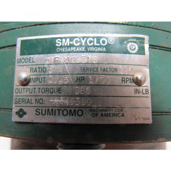 Sumitomo SM-Cyclo CNFJ-4095Y8 Inline Gear Reducer 8:1 Ratio 145 Hp #10 image