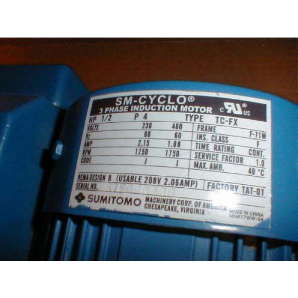 Sumitomo SM-CYCLO CNHM05-6095YA-59 Gear Reducer with TYPE TC-FX 1/2 HP Motor #5 image