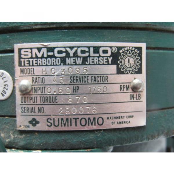 Sumitomo SM-Cyclo HC3095 Inline Gear Reducer 43:1 Ratio 060 Hp 1750RPM #10 image