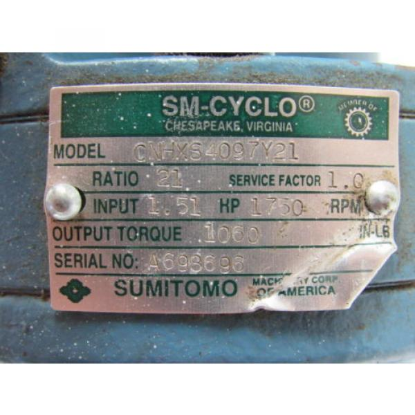 Sumitomo SM-Cyclo CNHXS4097Y21 Inline Gear Reducer 21:1 Ratio 151 Hp 1750RPM #11 image