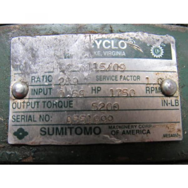 Sumitomo SM-Cyclo HVC 3115/09 Inline Gear Reducer 289:1 Ratio 059 Hp #9 image