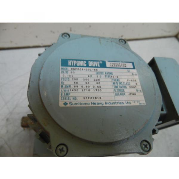 Sumitomo Hyponic Induction Geared Motor, RNFM01-20L-60, 60:1 Ratio, Used #2 image