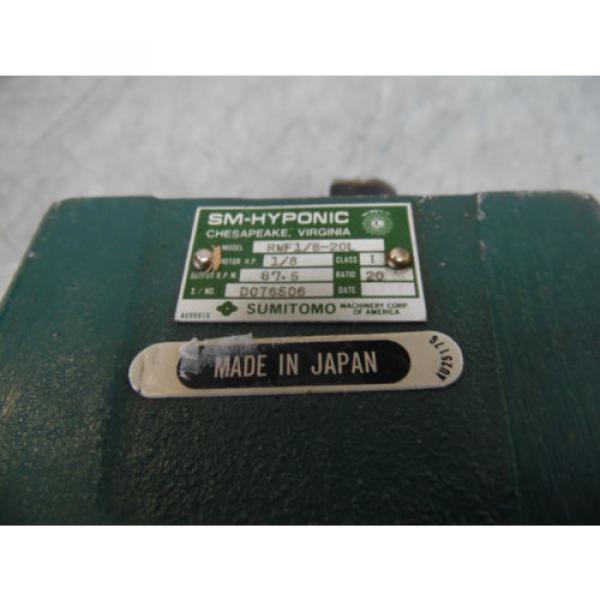 Sumitomo SM-Hyponic Induction Geared Motor, RMH1/8-20L, 20:1 Ratio,  WARRANTY #3 image