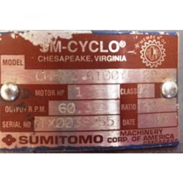 SUMITOMO SM-CYCLO INDUCTION GEAR MOTOR CNHM1-6100YC-29, 1 HP, 3 PH, RATIO 29:1 #2 image