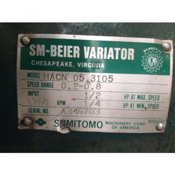 Sumitomo SM-Beier Variator HACN-05-3105 1/2HP Gear Drive/Speed Reducer 17:1 #6 image