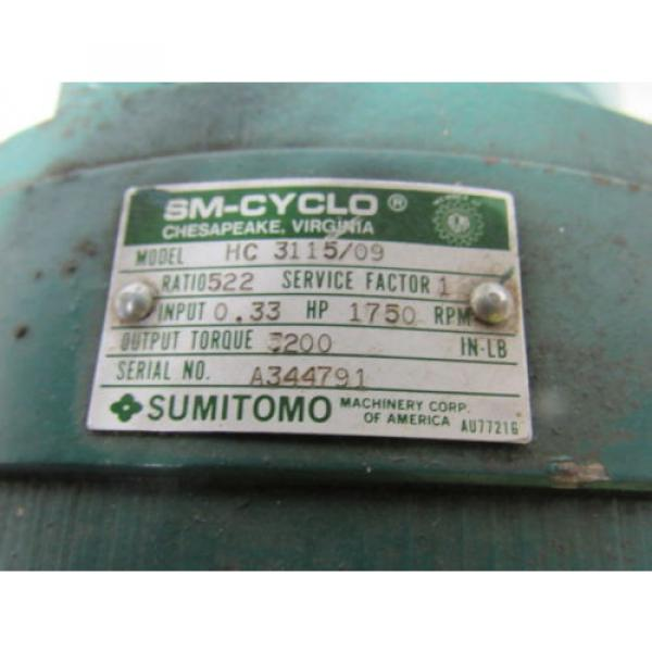 Sumitomo SM-Cyclo HC 3115/09 Inline Gear Reducer 522:1 Ratio 033 Hp #11 image