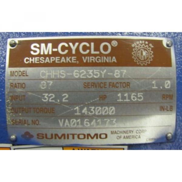 SUMITOMO CHHS-6235Y-87 SM-CYCLO 87:1 RATIO SPEED REDUCER GEARBOX REBUILT #2 image