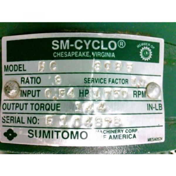 SUMITOMO SM-CYCLO Reducer HC-3085 Ratio 8 54Hp 1750rpm Approx 3/4#034; Shaft Dia #8 image