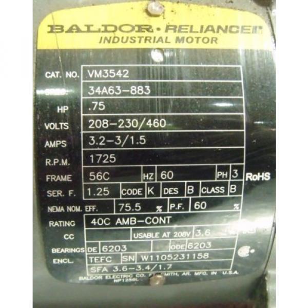BALDOR RELIANCE 3/4 HP MOTOR VM3542 WITH SUMITOMO GEAR REDUCER HS3105H8 #3 image