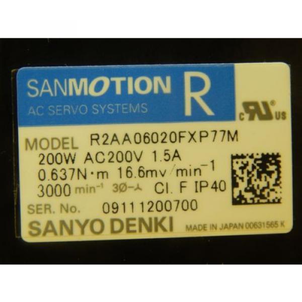 Sanyo Denki R2AA06020FXP77M AC Servo Motor Sumitomo ANFX-P110F-2RL3-9 Used #7 image