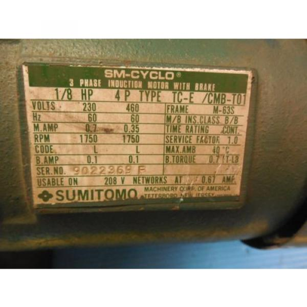 Origin SUMITOMO HMS 3090 A 1/8 HP 3 PHASE INDUCTION MOTOR 1750 RPM INDUSTRIAL #3 image