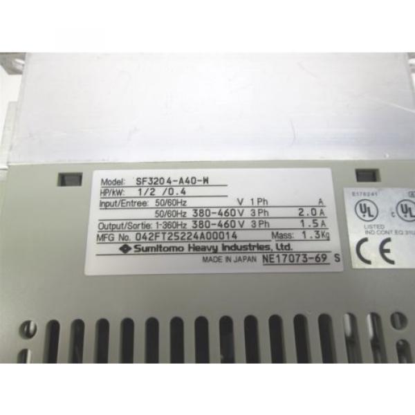 Sumitomo SF3204-A40-W 3 Phase AC Motor Drive Inverter VFD SF-320, 1/2HP 380/460V #3 image