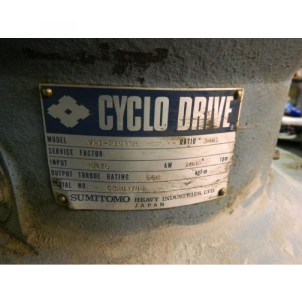 Sumitomo Cyclo Drive, VM1-21911B, 3481:1 Ratio, 1 HP, 1750 RPM, Used, Warranty #7 image