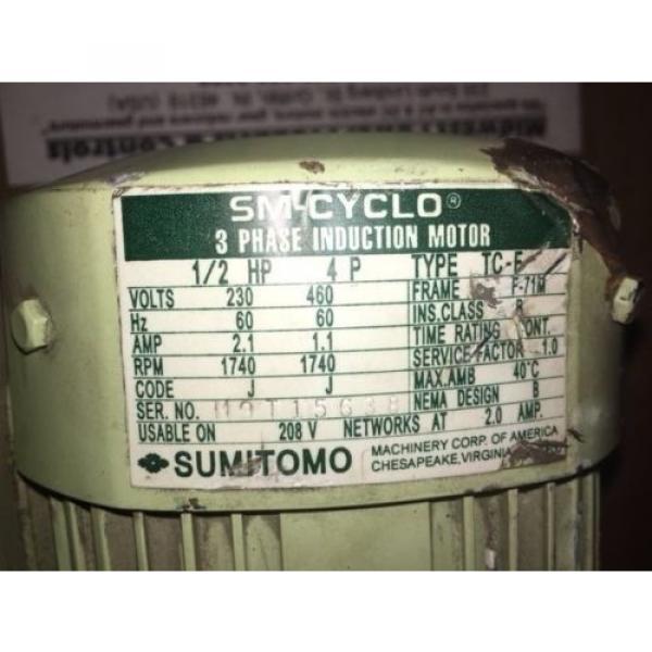 Sumitomo Cyclo gearmotor CNHMS-05-4095YC-29, 292 rpm, 29:1, 5hp, 230/460,inline #5 image