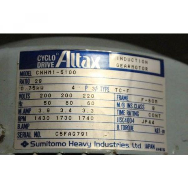 Altax Cyclo Drive Induction Gearmotor Sumitomo CNHM1-5100 #2 image