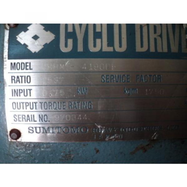 SUMITOMO CYCLO DRIVE CHHM-4190DB 2537:1 RATIO 075KW 1750RPM #7 image