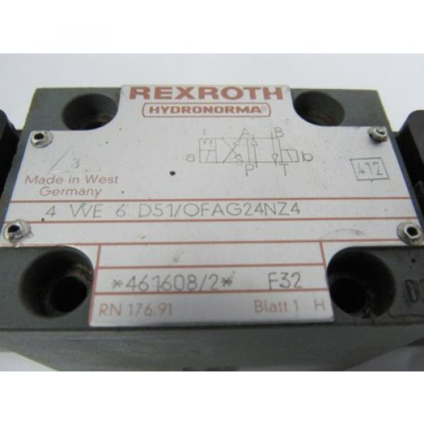 REXROTH 4 WE 6 D51/OFAG24NZ4 F32 24V DC 26W HYDRONORMA VALVE  USED #2 image