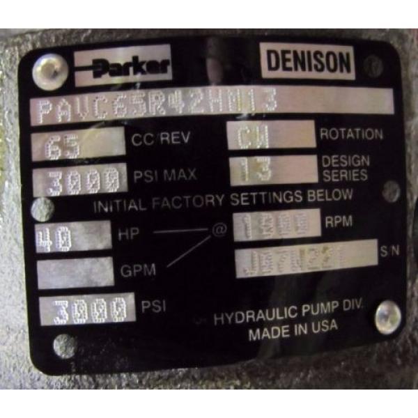 PARKER DENISON PAVC65R42HM13 40 HP 65 CC CW ROTATION 1800 RPM HYDRAULIC PUMP NIB #2 image