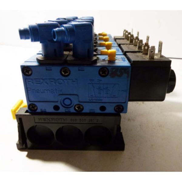 1 USED REXROTH 898-500-391-2 PNEUMATIC MANIFOLD W/ 572 745 SOLENOID VALVE ASSY #1 image