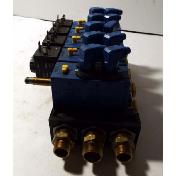 1 USED REXROTH 898-500-391-2 PNEUMATIC MANIFOLD W/ 572 745 SOLENOID VALVE ASSY #2 image
