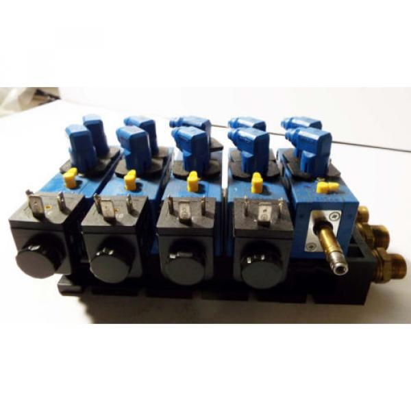 1 USED REXROTH 898-500-391-2 PNEUMATIC MANIFOLD W/ 572 745 SOLENOID VALVE ASSY #4 image