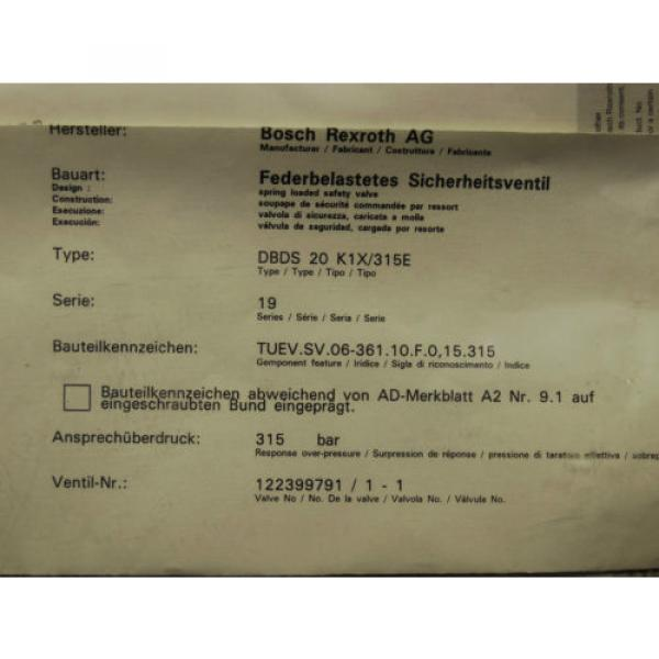 Origin    Rexroth Bosch valve ventil R900424269 / DBDS 20 K1X/315E Invoice #4 image
